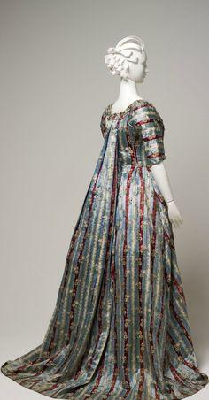 Back view of a silk brocade Robe à la française, circa 1770-1779, English.