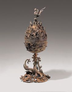 A gilt-bronze incense burner from the Baekje (Paekche) Kingdom of ancient Korea. The base is in the form of a dragon which supports a heavenly mountain decorated. Korean Art, Asian Art, Ancient Art, Ancient History, Ancient Book, Asian History, Buddhist Art, Incense Burner, Chinese Antiques
