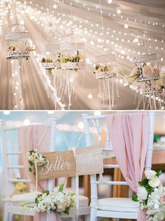 "Hanging floral white birdcage decor with fairy lights and wedding aisle signage decor // Wedding Boutique Phuket dreamt up a vintage European ""Key of Love""-inspired celebration on the beachfront lawn of Renaissance Phuket Resort & Spa, Thailand, for David and Ivy. Captured by Darinimages, this wedding theme came complete with vintage key motifs, shades of Rose Quartz and Serenity Blue, and a vintage door ceremony backdrop opening out into the sea."
