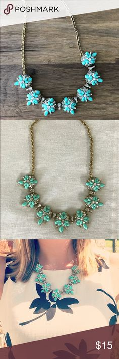 SOLD!! J. Crew Factory statement necklace SOLD! Beautiful turquoise statement necklace that makes any outfit pop! Bought just last year and worn less than 5 times. Great condition!! No jewels missing. J. Crew Factory Jewelry Necklaces
