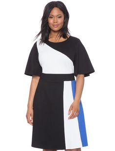 10/21/16  Brand/Designer: Eloquii Material: Knit /Leather /Nylon /Ponte /Rayon /Spandex Dress Silhouette: Fit-and-Flare Skirt: A-line Flared-Skirt Embellishments: Colorblocking Closure/Back: Hidden Back Zipper Dry Clean Size Category: Plus Size