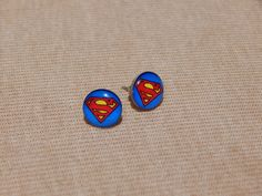 Superman Earrings, Superman Stud Earrings, Superhero Stud Earrings, Glass Dome Earrings, DC Comics, Video Game Jewelry, Geekery, Superman by VetroJewelryDesigns on Etsy