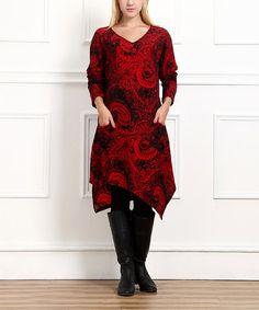 Loving this Red Paisley Handkerchief Dress - Women on #zulily! #zulilyfinds