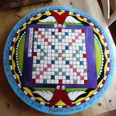 Hand painted and wood burned scrabble table that spins like a lazy susan! So cool!