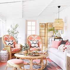 Coastal Home Interior Amazing Before-and-After Porch Makeovers.Coastal Home Interior Amazing Before-and-After Porch Makeovers Home Interior, Interior Design, Design Interiors, Rattan Coffee Table, Room Paint Colors, My Living Room, Living Area, Barn Living, Cozy Living