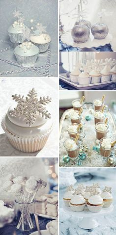 shimmery winter wonderland wedding desserts ideas