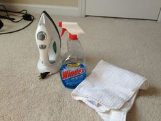 Removing stains from carpet with Windex and an iron . Also repeated it on stain with a water/soap mix to avoid any blue use windex that does not have color. House Cleaning Tips, Diy Cleaning Products, Cleaning Solutions, Spring Cleaning, Cleaning Hacks, Iron Cleaning, Carpet Diy, Grey Carpet, Carpet Types