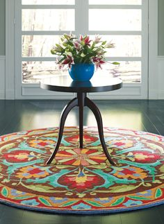 round, entryway, rug, colorful
