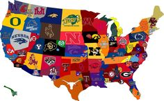The United States of College Football- and NC has the most in one state.very interesting. But this looks cool. And my football friends will like it. Football Stadiums, Football Fans, Football Season, Collage Football, Football Usa, Alabama Football, American Football, Osu Baseball, Football Fever