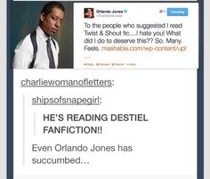 OMG. Orlando Jones read Twist & Shout.<----I have never heard of this, where do I find it???