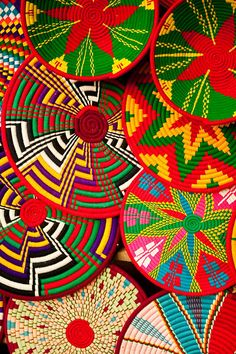 Colourful baskets for sale at the local markets at Axum, Ethiopia by Adam Lees Photography