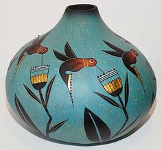 Hummingbird gourd pot by Robert Rivera