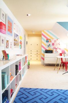 Colorful Playroom with White Furniture Colorful Living Spaces w/ the Land of nod. Washi tape on the wall. A happy and colorful combined playroom and home office with The Land of Nod at Kid Spaces, Living Spaces, Living Room, Colorful Playroom, Playroom Ideas, Playroom Furniture, Playroom Design, Colorful Rooms, Kid Playroom
