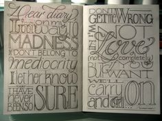 Lucky Day - Sasha - lyric - Brilliant hand lettered layout. Lots of inspiration for playing with word position, and yet, it's still readable.