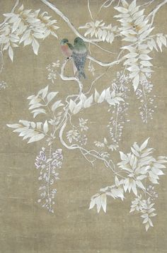 ☆Traditional wallpaper / floral / animal motif / chinoiserie - BIRDS IN THE SHADE : TR-88 - Paul Montgomery Studio