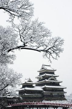Snow in Matsumoto Castle (Crow Castle), Nagano, Japan