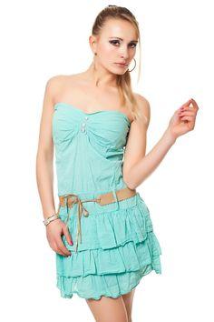 Bandeau Minikleid mit Spitze und Volant Rock - One Size 34-38 Damenmode - online kaufen - traumshop2000.de