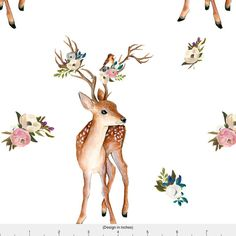 Woodland Deer Fabric - Sweet Friends - White By Shopcabin - Watercolor Woodland Fawn Cotton Fabric By The Yard With Spoonflower