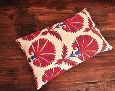 ikat fabric throw pillow ikat cushion suzani decor by DecorUZ Velvet Upholstery Fabric, Ikat Fabric, Ikat Pillows, Velvet Pillows, Printed Silk Fabric, Gorgeous Fabrics, Handmade Pillows, Hand Weaving, Cushion