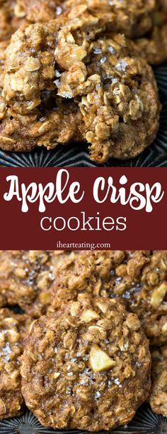 Apple crisp cookies are chewy crispy apple spice cookies that taste like brown sugar apple crisp topping in cookie form. The post Apple Crisp Cookies appeared first on Dessert Park. Apple Crisp With Oatmeal, Apple Crisp Without Oats, Apple Crisp Topping, Caramel Apple Crisp, Apple Crisp Easy, Homemade Apple Crisp, Best Apple Crisp Recipe, Apple Crisp Recipes, Baked Apple Dessert
