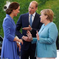 Introducing my wife! Prince William looked delighted to have the chance to introduce Kate to German Chancellor Angela Merkel in Berlin this afternoon Prince William Et Kate, Duke William, William Kate, Duchess Kate, Duchess Of Cambridge, Photos Of Prince, Catherine The Great, Baby George, Royal Life