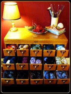 Repurposed library card catalog - perfect for the yarn stash! Knitting Room, Knitting Storage, Yarn Storage, Craft Storage, Knitting Yarn, Stamp Storage, Storage Ideas, Yarn Organization, Ideas Para Organizar