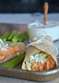 Slow Cooker bBuffalo Chicken Tacos with blue cheese slaw, www.mountainmamacooks.com #tacotuesday