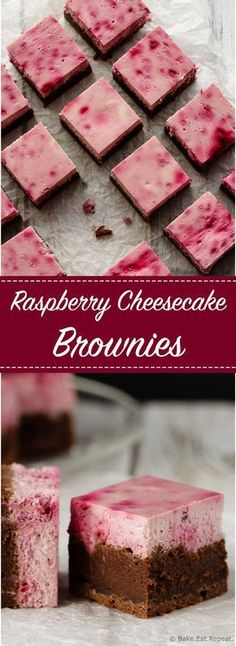 Raspberry Cheesecake Brownies - Easy to make raspberry cheesecake brownies that are perfect for Valentine's Day! Or for a special dessert. These are amazing! (easy desserts to make recipes) Brownie Cheesecake, Brownie Desserts, Low Carb Cheesecake, Raspberry Cheesecake, Mini Desserts, Brownie Recipes, Cheesecake Recipes, Just Desserts, Delicious Desserts