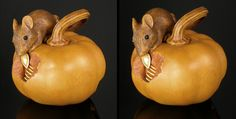Janel Jacobson's on-line gallery of Netsuke, Ojime and Small Sculptures Eek A Mouse, Small Sculptures, Animal Projects, Optical Illusions, Wood Turning, Asian Art, Pumpkin Carving, Miniatures, Pottery