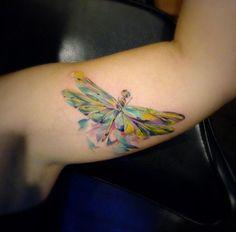 Watercolor Dragonfly Tattoo by Kreepy Tiki