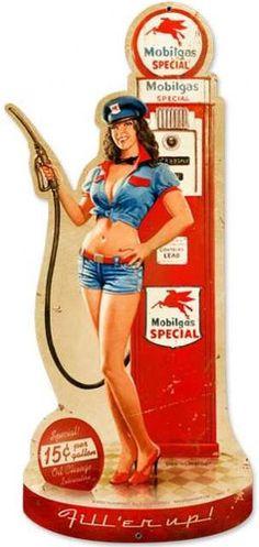 Vintage Gas Pump Girl Custom Shape - Pin-Up Girl Metal Sign