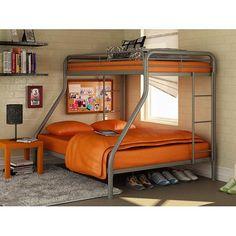 Twin over Full Bunk Beds Metal Bunkbeds Kids Teens Dorm Bedroom Furniture Modern Bunk Beds, Metal Bunk Beds, Bunk Beds With Stairs, Cool Bunk Beds, Kids Bunk Beds, Bed Rails, Childrens Bedroom Furniture, Bed Furniture, Furniture Removal