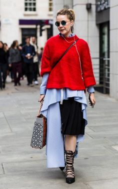 Asymmetric hemlines extended to shirting as well as skirts and dresses.