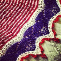 A Red, White, & Blue shawl I knitted in time for fireworks in San Francisco!