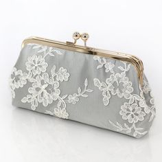 Alencon Lace Bridesmaids Clutch in Silvery Grey  by ANGEEW on Etsy