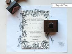 DIY Tutorial: Elegant Rubber Stamp Floral Wedding Invitations | Place a sheet of regular text weight paper underneath your pre-printed invitation. Using border stamps, begin stamping the motifs around the border, making sure not to cover any text. Be sure to stamp off of the page, giving the invitation a full-bleed effect. Click to see awesome professional results and for full instructions!