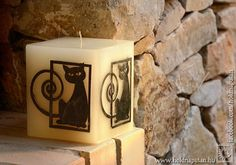Gift for black cat lovers candle with inlay black and by picandle, $38.00