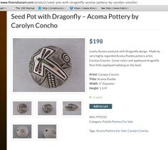 CAROLYN CONCHO pot for sale https://www.fineindianart.com/product/seed-pot-with-dragonfly-acoma-pottery-by-carolyn-concho/