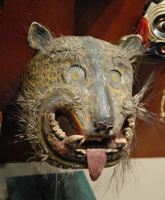 This well used mask of a tigre or jaguar most likely comes from the Zitlala area of Guerrero Mexico.