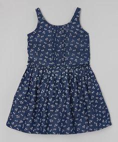 Loving this Indigo Floral Denim Dress - Toddler & Girls on #zulily! #zulilyfinds