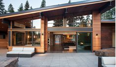 Exotic Mountain House Using Exotic Wooden Material and Natural Stone : Awesome Modern Patio Design Mountain Modern Digs Exterior Design Exterior, Modern Exterior, Modern Roofing, Patio Design, Contemporary Patio, Contemporary House Plans, Modern Mountain Home, Mountain Living, House Siding