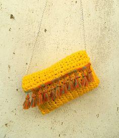 boho crochet  bag  yellow shoulder bag crochet  bag by lecosedites