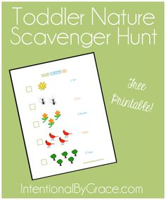 Toddler nature scavenger hunt {free printable} - intentional by grace Funny Scavenger Hunt Ideas, Preschool Scavenger Hunt, Nature Scavenger Hunts, Outdoor Scavenger Hunts, Toddler Fun, Toddler Activities, Learning Activities, Preschool Printables, Education Quotes For Teachers