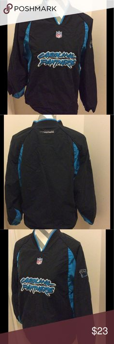 Carolina Panthers pullover Jacket Gently worn with normal signs of wear size labeled youth large 14-16 fits women size small. Perfect for chilly football weather. Please view all photos ask any questions all sales are final nfl Jackets & Coats