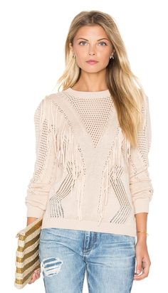Fringe Sweater by endless rose. 55% acrylic 45% cotton. Hand wash cold. Rib knit edges. Fringe trim. ENDR-WK1. 2864T6FR. Endless Rose takes sophistic...
