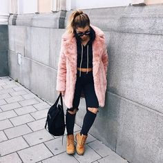 Madeline Bitici - Blush Faux Fur Coat, Timberland Boots