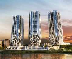 """Zaha Hadid Architects Unveil Trio of """"Blossoming"""" Residential Towers on Brisbane Riverfront 