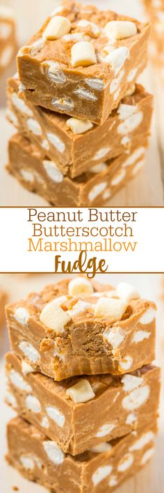 Peanut Butter Butterscotch Marshmallow Fudge - Easy, no-bake fudge with bold peanut butter flavor! Peanut butter lovers will go nuts! The marshmallows are like biting into soft clouds amidst dense, rich fudge! Peanut Butter Recipes, Fudge Recipes, Candy Recipes, Sweet Recipes, Dessert Recipes, Fudge Flavors, Dump Cake Recipes, Marshmallow Fudge, Marshmallows