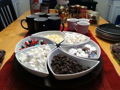 A fun hot chocolate bar - idea for the bar definitely from Pinterest. Went over well with a Christmas movie party. :)