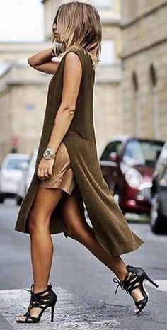 #Street #Fashion | Camel Split Tunic Dress Camel Shorts, Black Heels |Wizard Fashion                                                                             Source